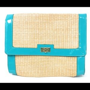 H&M Clutch Purse Straw Material & Turquoise